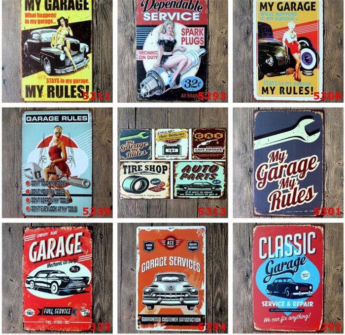 mixed themes beer garage warning Motor Vintage Craft Tin Sign Retro Metal Painting Poster Bar Pub Wall Art Sticker C139