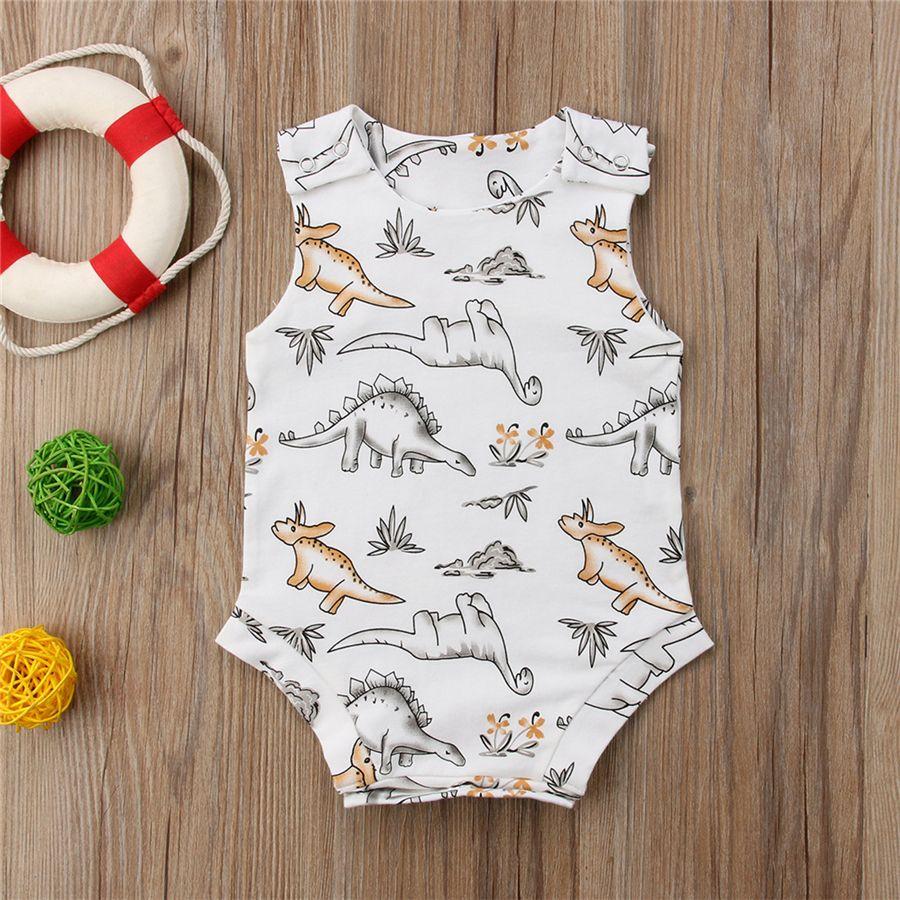 2018 Cute Baby Boys Dinosaur Romper Jumpsuit Boutique Ropa Sin mangas de algodón Body Bebé Animal Onesies Outfit Ropa Ropa para niños