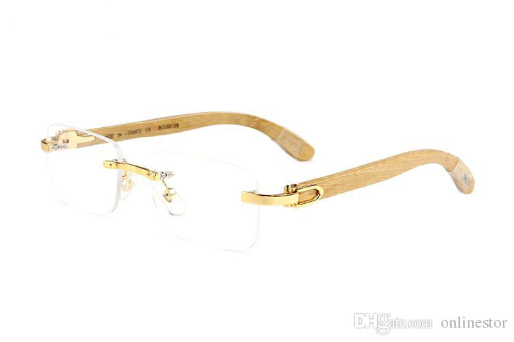 2017 Rimless Buffalo Horn Glasses For Men and Women Polarized New Fashion Wooden Sunglasses High Quality Bamboo Frame Gold Wood Eyewear