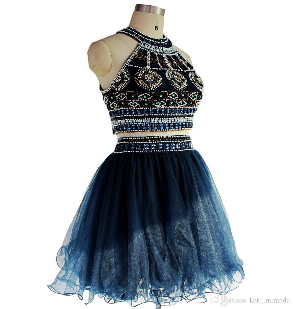 Marynarka wojenna krótkie sukienki Dwa kawałki Prom Dresses Zroszony Graduation Party Dresses Custom Made Homecoming Suknie DH726