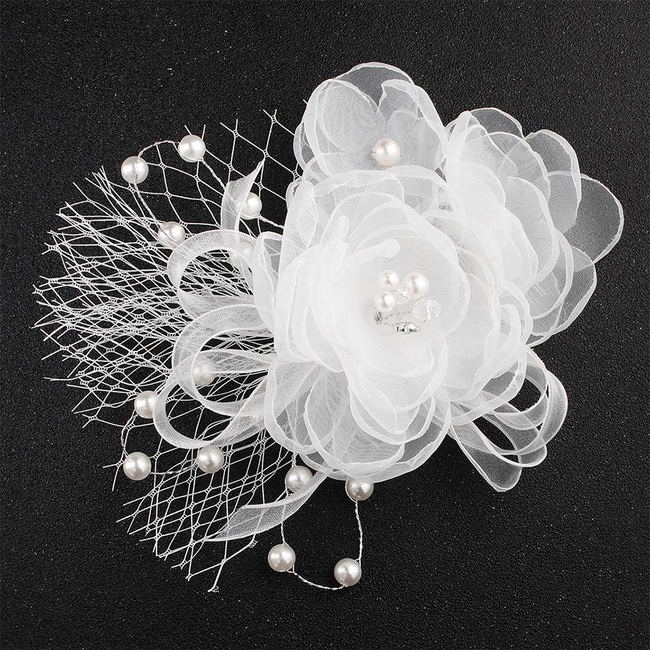 White Flower Cloth Bride Headdress Wedding Dress Hair Accessories Hair Combs Pearls Hairpieces for Women Headwear JCH171
