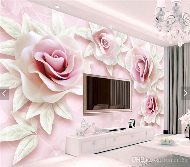 3d Floral Wallpaper Photo Wall Paper Living Room Bedroom Decor Papel Pintado Pared Rollos Wall Papers Home Decor 3d Rose Flower Simpsons Wallpaper