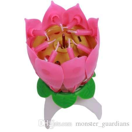 Sıcak 1 Adet / grup Doğum Günü Mum Çiçeği Lotus Çiçek Mumlar Parti Kek Müzik Sparkle Kek Topper Mum QB670976