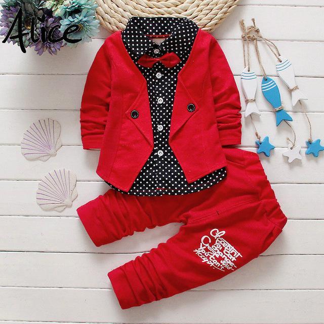 Bebek Erkek Sonbahar Rahat Giyim Seti Bebek Çocuk Düğmesi Mektup Yay Giyim Setleri Babe ceket + pantolon 2-Piece Suit