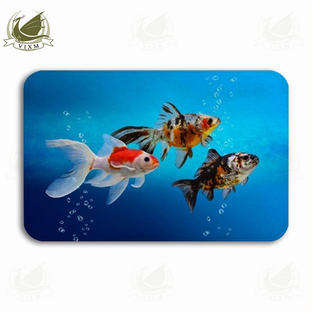 Vixm Goldfish With Colorful Decorative Fish Tanks Welcome Door Mat Rugs Flannel Anti-slip Entrance Indoor Kitchen Bath Carpet