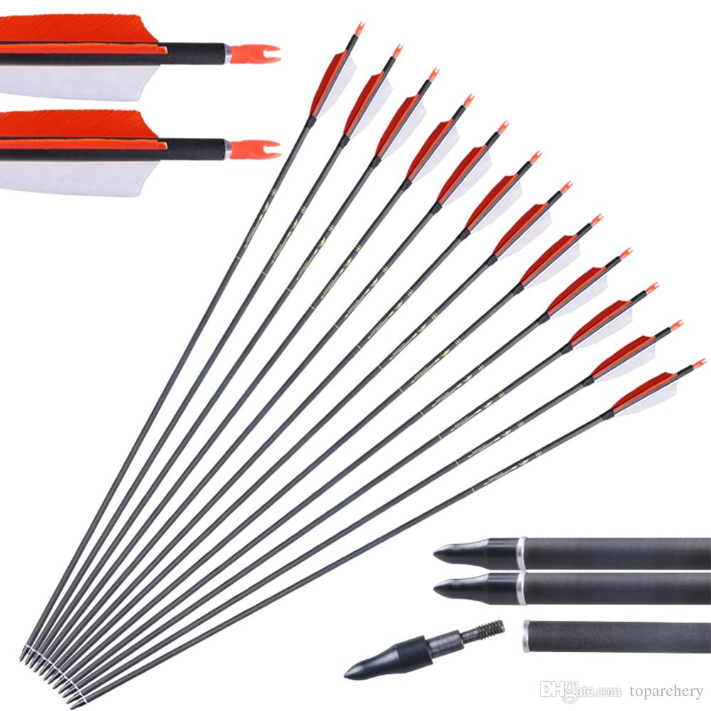 6pcs 31 Inch Carbon Feather Arrows with Screw In Arrow Tips for Archery Practice