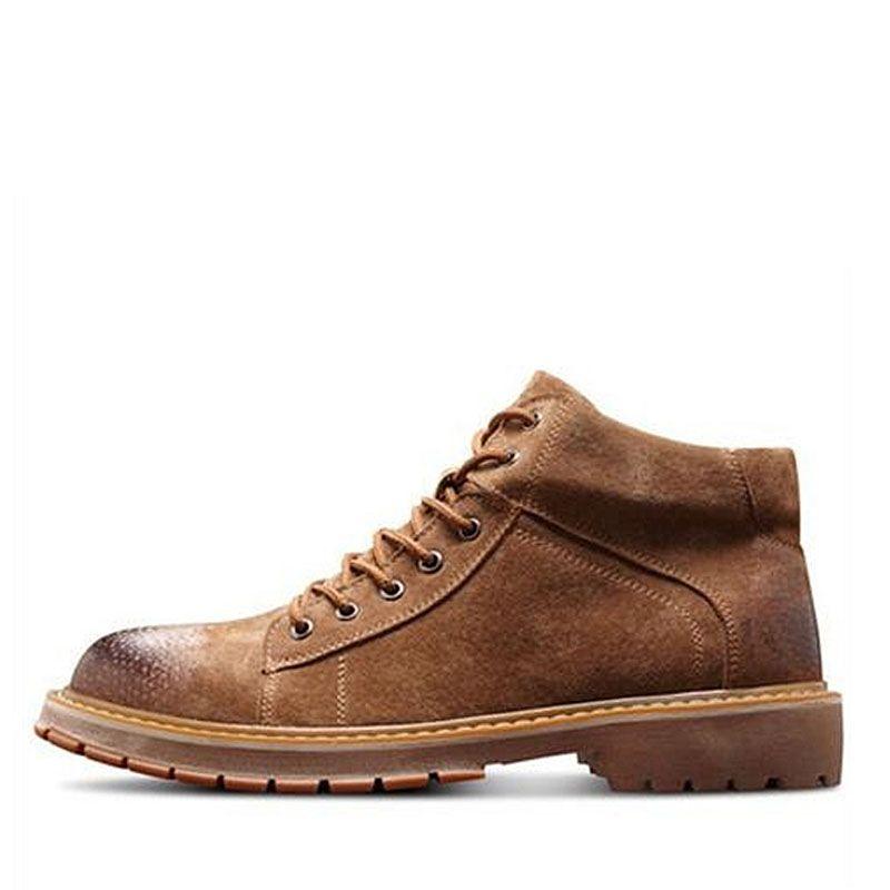 Estilo Moda Masculina tornozelo botas de couro Genuíno Respirável Martin botas Lace-Up sapatos Masculinos Outono Inverno botas de Neve