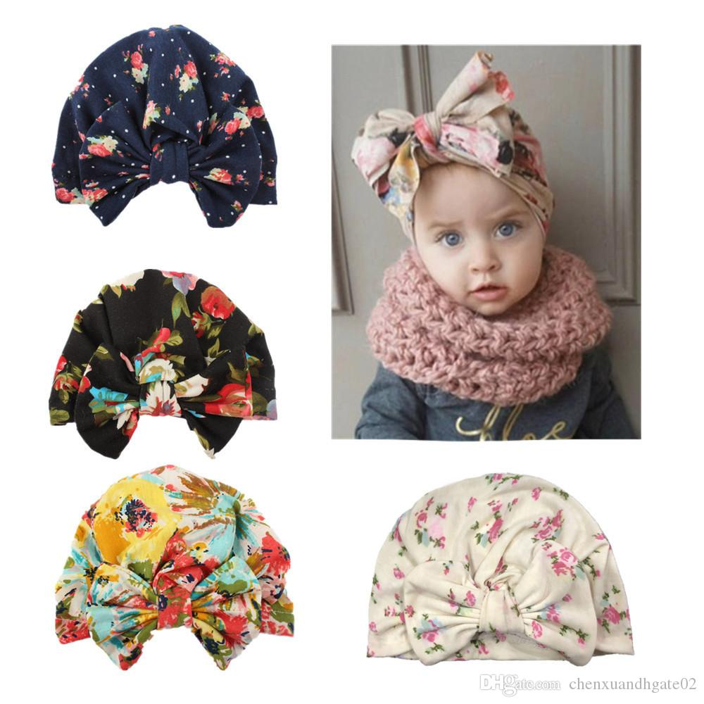 0-4Y Newborn Toddler Kids Baby Girl Flower Hats 2018 Brand New Turban Cotton Beanie Hat Winter Cap Lovely