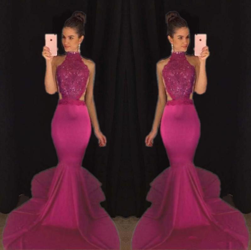 Compre 2k 17 Sirena Más Vendida Con Cuentas Vestidos De Baile Sexy Sin Espalda De Satén Vestidos Formales De Noche De Cuello Alto Vestido De Desfile