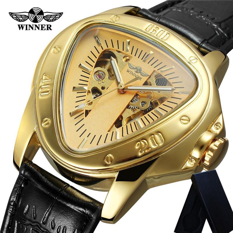 الفائز التلقائية الميكانيكية ساعات رجالي جلد Trangle الهيكل العظمي رجل ساعة الأعلى سبورت ذكر ساعة اليد 0636