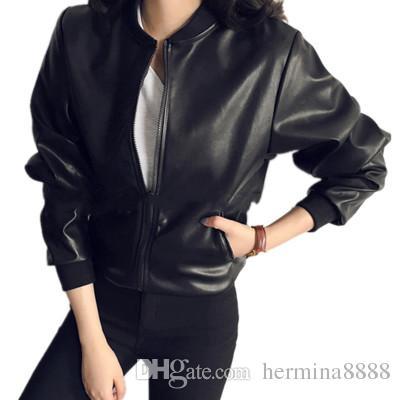 بو الجلود سترة النساء أزياء سوداء للدراجات النارية معطف قصير فو الجلود السائق سترة لينة سترة الإناث