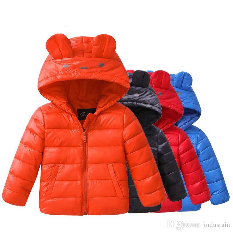 Inverno Casacos Criança Duck Down Brasão bebê Jacket da Light Crianças para Brasão menina Parka Casacos bonito Cat Vestuário Hoodies Boy