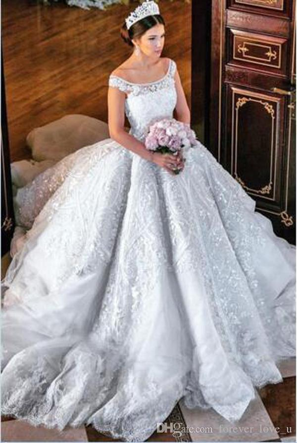 Vestiti Da Sposa Costosi.Acquista 2019 Costosi Abiti Da Sposa Abito Di Sfera Di Lusso Puro