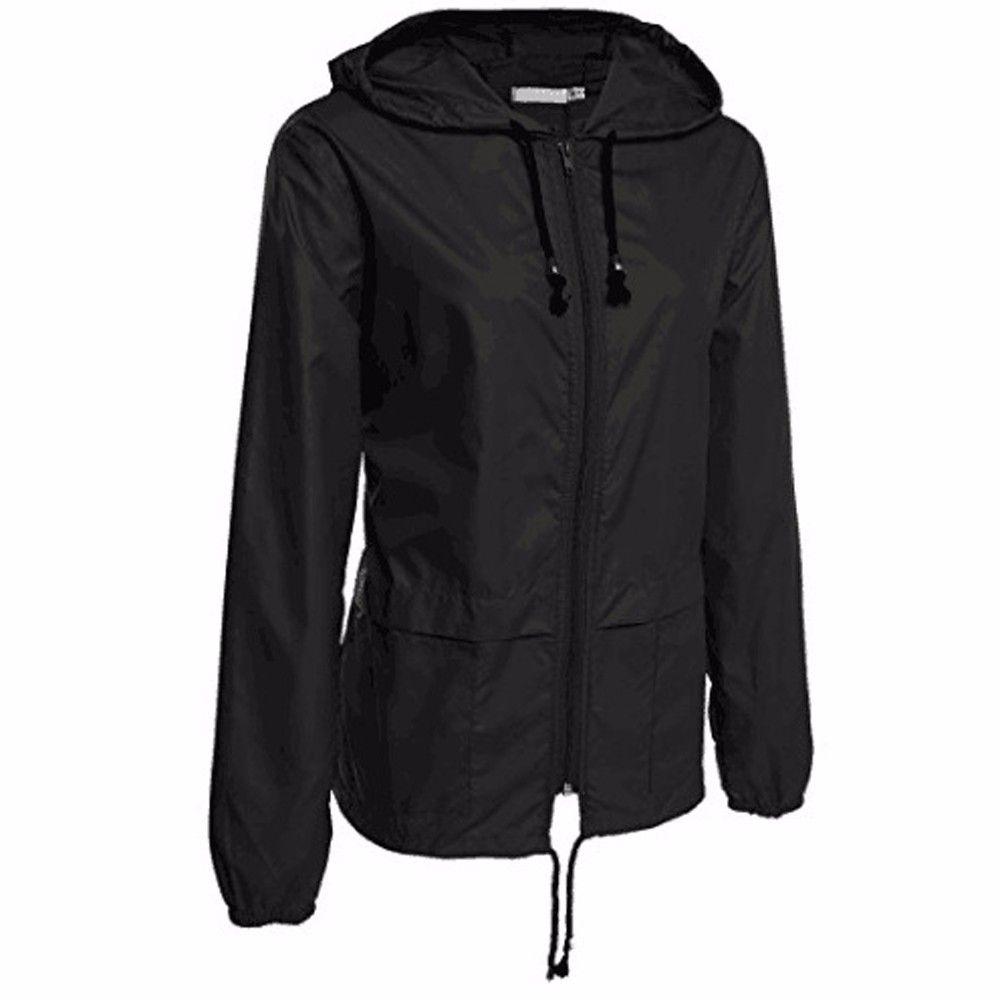 Куртки для женщин Повседневного Твердого Легкого дождевика Packable Водонепроницаемого с капюшоном плащ Моды осенью зима пальто