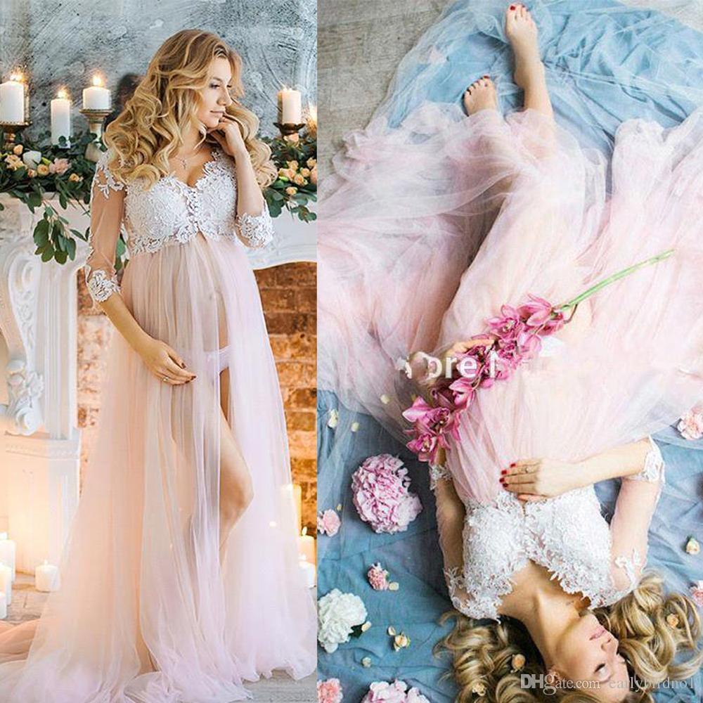 3/4 maniche lunghe vestiti da sera formale maternità anteriore fessura pizzo applique tulle impero vita incinta illusione prom party dress BC0286