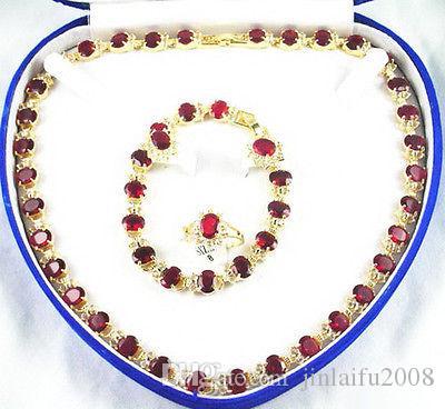 Collana Bracciale Orecchini anello rosso placcato Cubic Zirconia di cristallo oro giallo