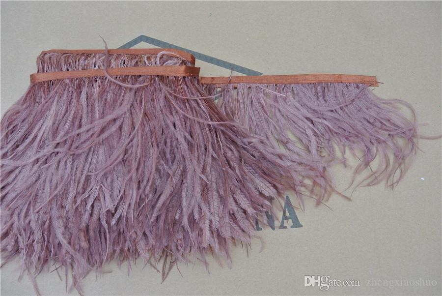 Wholesale 10yards/lot brown 5-6 inch in width ostrich feather trimming fringe for wedding sewing crafts skrit supply