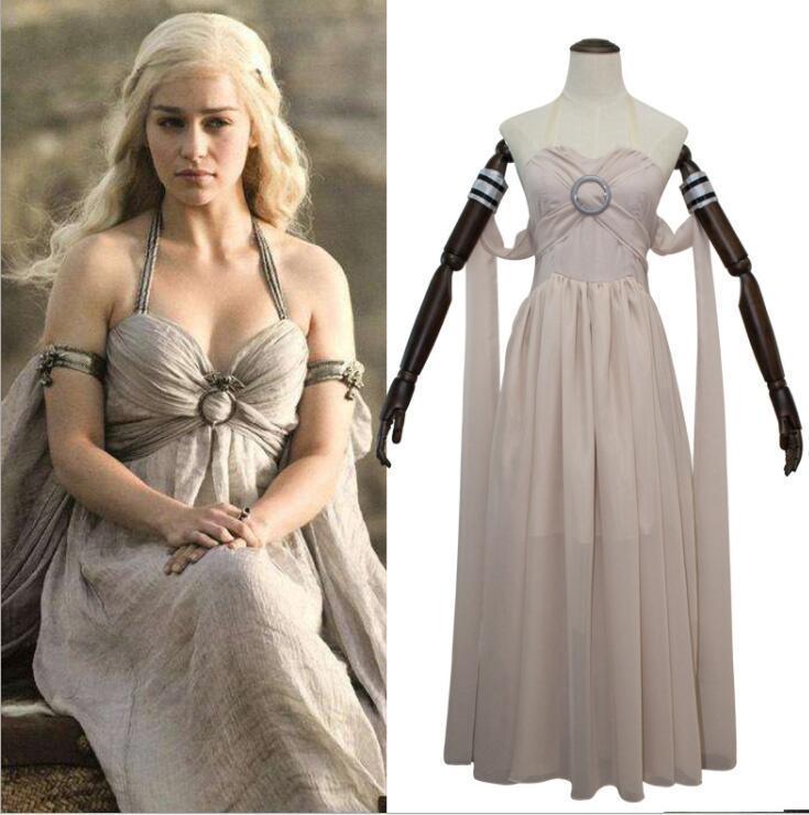 KADıN film cosplay elbise Daenerys Targaryen cosplay kostüm Cadılar Bayramı kostümleri kadın yetişkin Parti Elbise beyaz elbise KKA5820