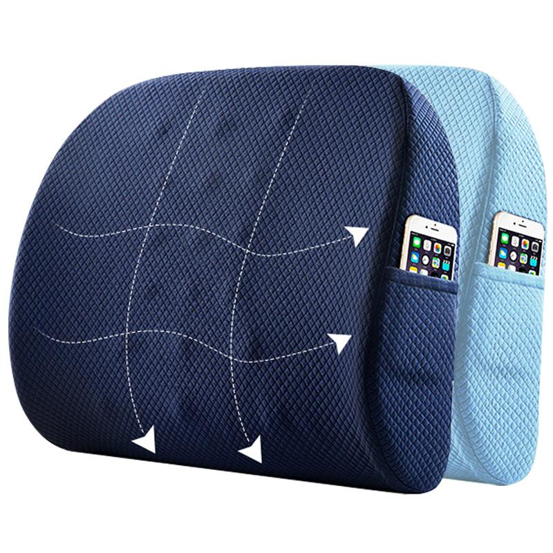 Memory Foam Seat Chair Cushion Lumbar Support For Office Chair Coccyx Orthopedic Pillow Waist Massage Cushion Car Back Set Pad