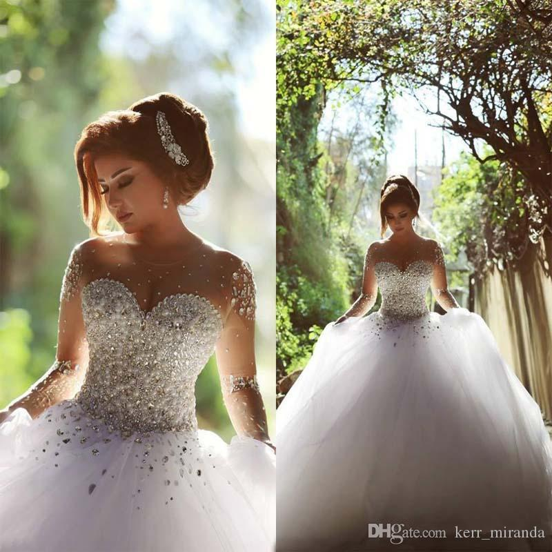 Compre Vestidos De Novia De Manga Larga Con Cristales De Diamantes De Imitación Sin Espalda Vestido De Bola Vestidos De Novia Vestidos De Novia