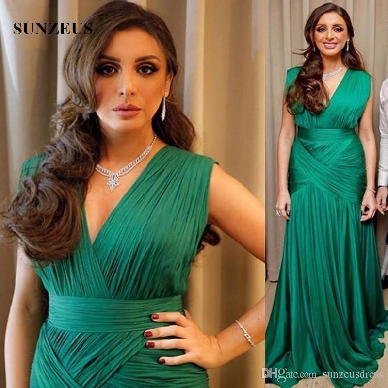 Robes de soirée en mousseline de soie vertes Mermaid V-neck Cap Sleeve Longues robes formelles Arabe Celebrity Women Party Gowns