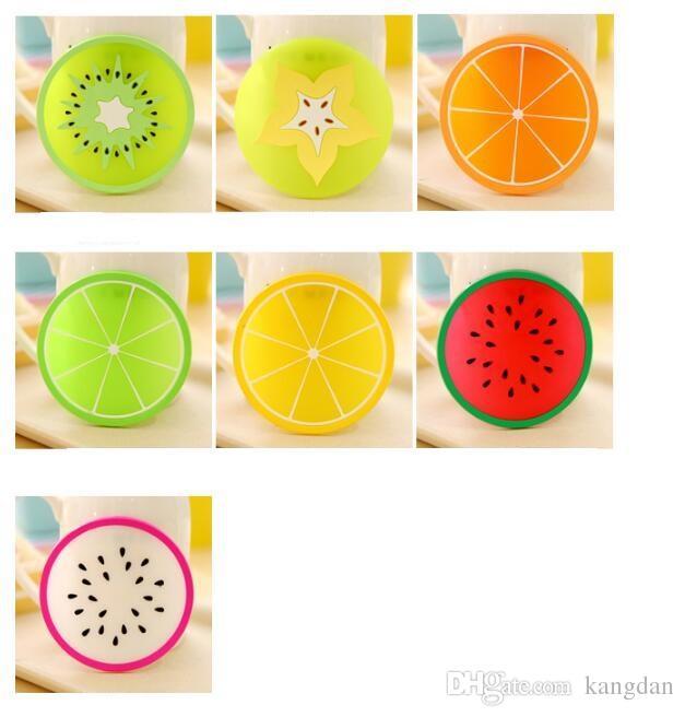 Criativo cup mats colorido Forma de frutas prato de silicone isolamento Mat mesa de decoração placemat anti-derrapante copo de coaster de vidro