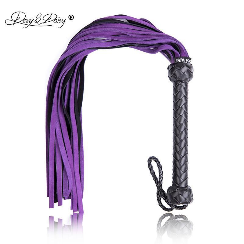 Davydaisy Leather Y18101501 настоящая королева фиолетовые пары для пыток играют секс секс BDSM рабство для взрослых роль аксессуары Flogger Whip AC004 6 Xnot