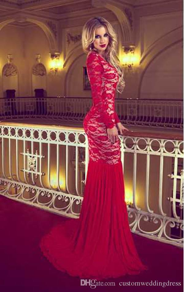 Fashion Court Train Prom Dresses Red Lace Long Transparent Sleeve Backless Mermaid Evening Dresses 2018 Middle East