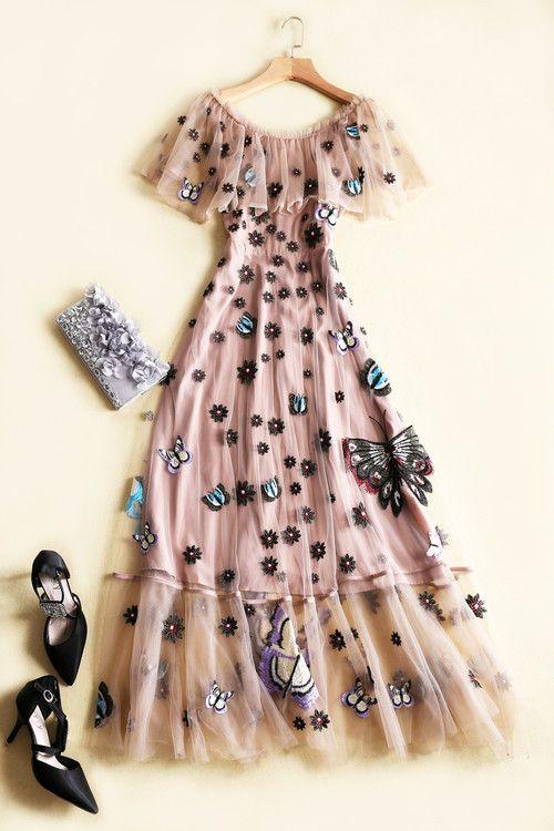 2018 Spring Summer Brand Same Style DRess Embroidery Fashion Crew Neck A Line Mesh Silk Polyester Women Clothes Wedding Dress LI