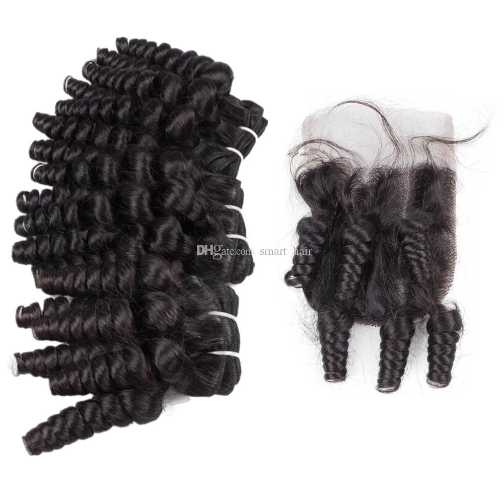 Aunty Funmi Curly Human Hair Weave 3pcs with Lace Closure 4x4 Malaysian Aunty Funmi Hair Romance Curls With Free Part Closure Pieces