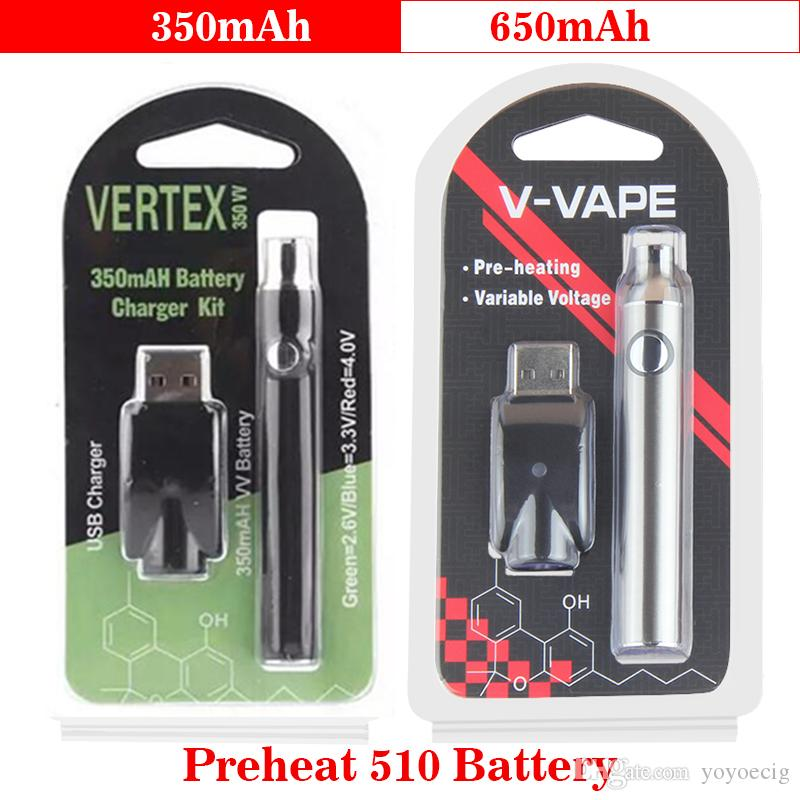 100% Quality Vertex LO VV Preheating Battery Charger Kit 350mAh & EVOD Preheat Battery 650mAh Voltage adjustable Pre heat 510 thread Battery