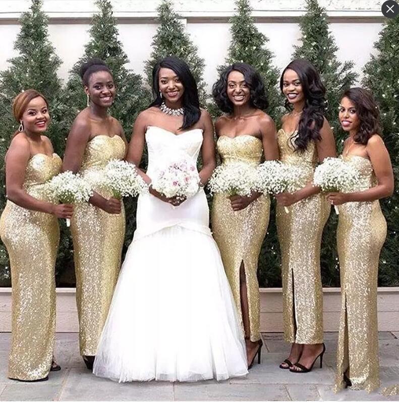 Vestidos de dama de honor de sirena africana brillante Lado de amor largo Split Split Dress Vestido trasero cremallera barata Maid formal de honor vestido de dama de honor