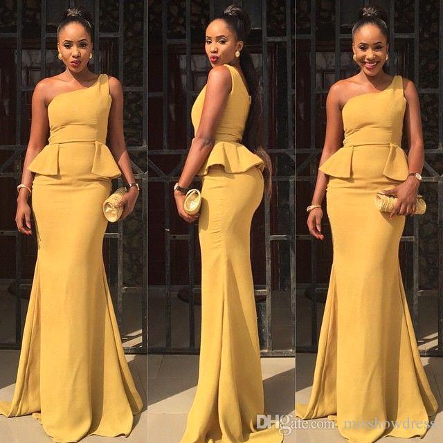 2018 Yellow One Shoulder Satin Mermaid Long Druhna Dresses Nigeria Peplum Sweep Pociąg Ślubny Gość Długie Prom Evening Dresses Bo9087