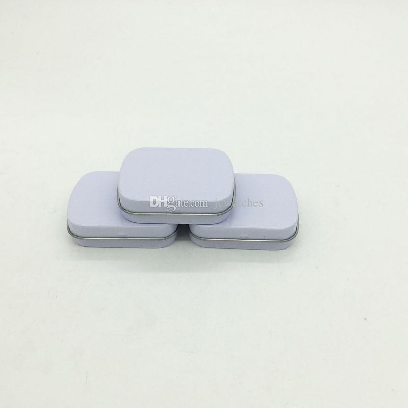 58x45x15mm Mini Tin Box Gift Box/Mint Metal Box White Rectangle Plain Metal Tin Storage Boxes
