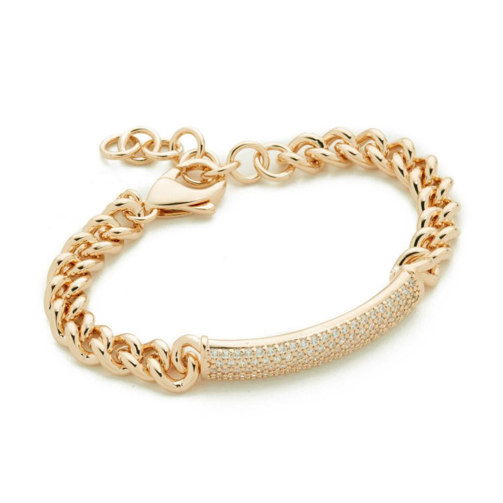 Fashion Women Crystal Rhinestone Charm Cuff Bracelet Simple Metal Antique Rose Gold Silver Wave Bangle Chain Jewelry