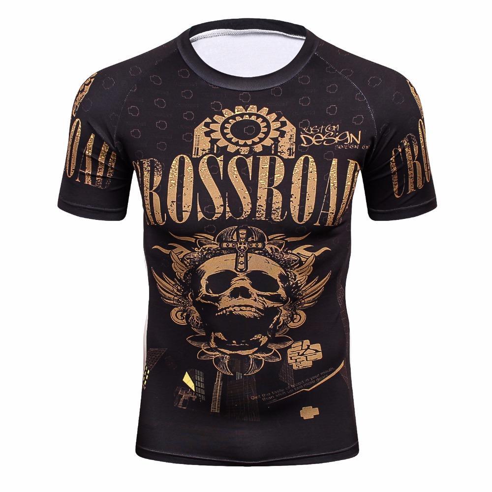 All'ingrosso-3d Full T-shirt Mens Compression Shirt Base Layer manica corta allenamento Fitness MMA Body Building Top Rashguard T-Shirt
