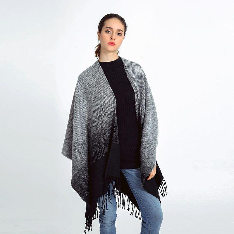 Урожай кисточкой градиент Шаль пончо и накидки осень 2016 кашемир пончо бесконечность одеяло шарф плащ шарфы и украл