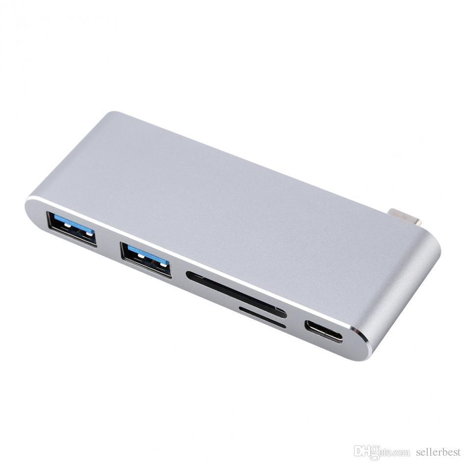 Estuche de aluminio con adaptador de concentrador multipuerto de tipo C 3.1 USB 3.1 con 2 puertos USB 3.0 Tipo P CD-SD Lector de tarjetas SD-TF para MACBOOK