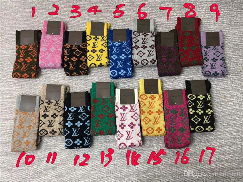 17 Renk Yeni L Çorap Kutusu Paketlenmiş Üst Sınıf Altın Ipek Konu Çorap Kadın Sonbahar Ve Kış Çorap