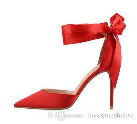 Nueva llegada sandalias de las mujeres atadas cruzadas moda dedo del pie puntiagudo zapatos de las señoras tacones altos boda superficial negro rosa rojo sandalias mujer