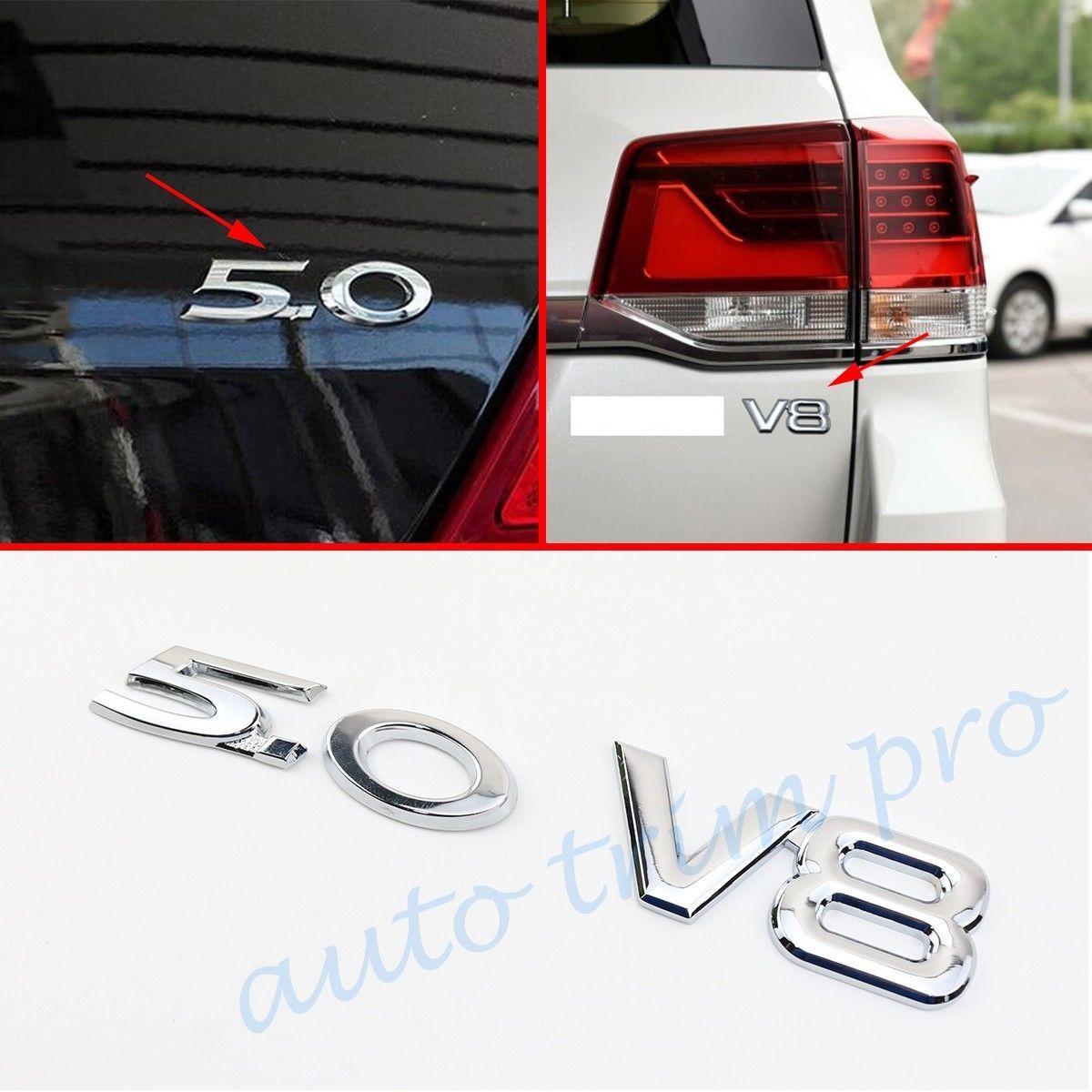 Pair Metal Car Motor Engine Turbo Trim Badge Chrome 5.0+V8 Emblem Logo 3D Decal Sticker Decorate