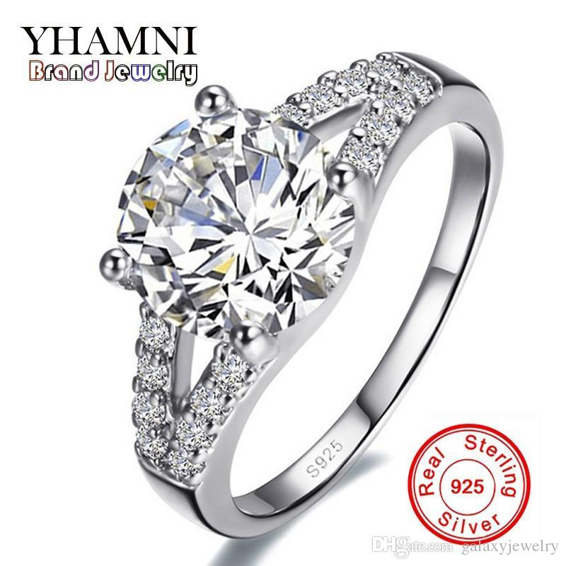 YHAMNI Real Solid Silver Wedding Rings For Women Inlay Sona 2 Carat CZ Diamond Engagement Ring 925 Sterling Silver Fine Jewelry J29G