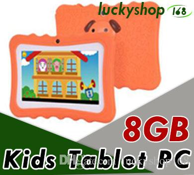 """60X Hot Kids Brand Tablet PC 7"""" Quad Core children tablet Android 4.4 Allwinner A33 google player wifi big speaker protective cover"""