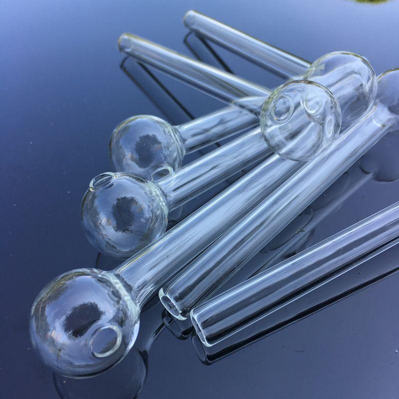 unghie olio tubi di lunghezza fumatori 4,75 pollici Grande Pyrex spessore di vetro chiaro Pipes bruciatore a nafta di vetro olio Tubo Nail