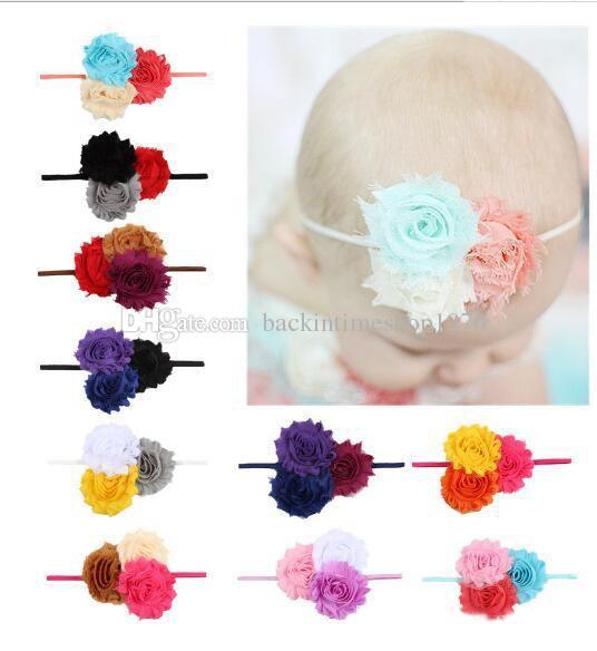 Kızlar Çiçekler Saç Bantları Kafa Çocuklar Elastik Başlık Çocuk Bebek Headwraps Saç Aksesuarı 10 Renkler
