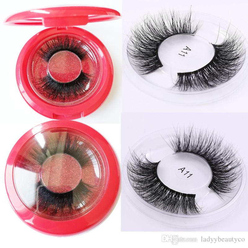 Round box Eyelashes 3D Mink Lashes Hand Made Full Strip Lashes Natural Long False Eyelashes cilios posticos Mink Eyelashes private logo
