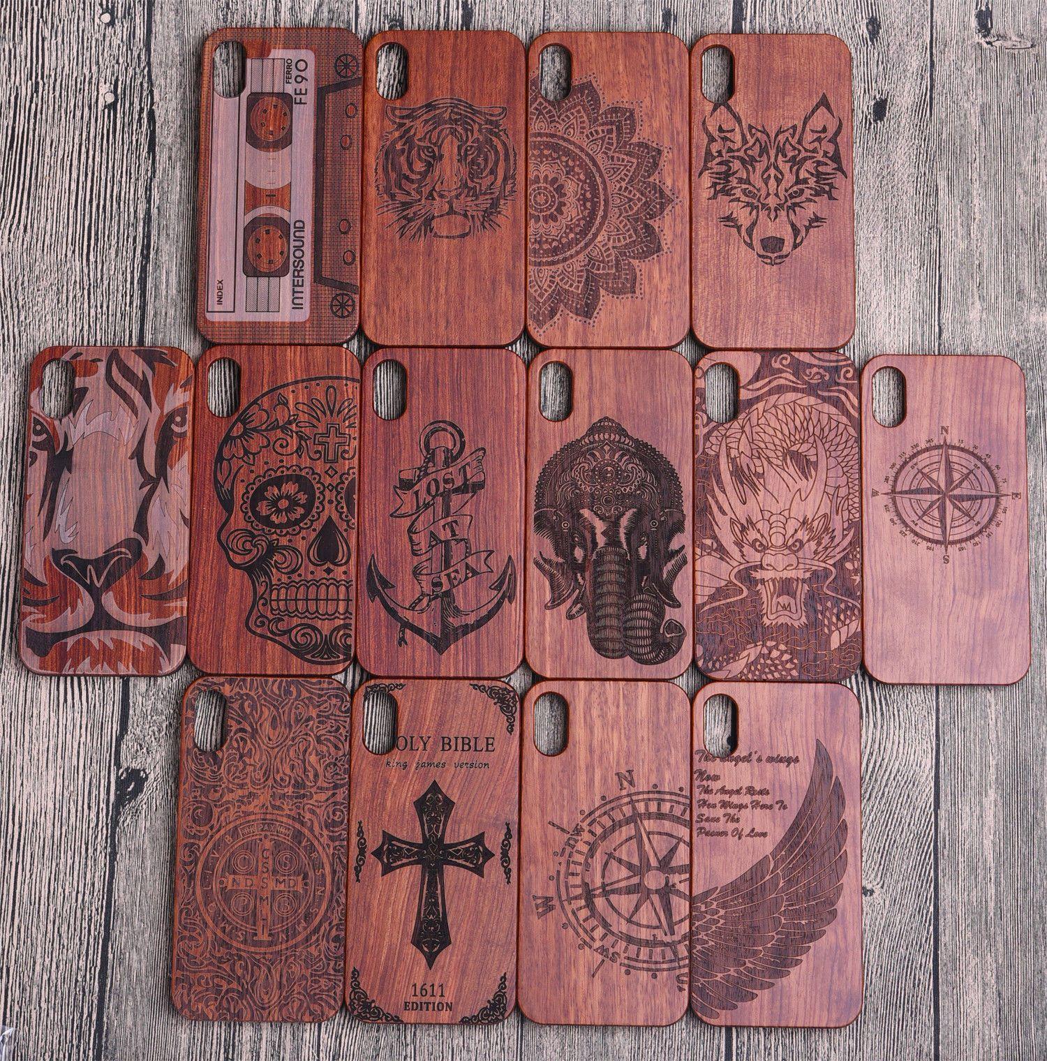 Cajas hechas a mano del teléfono del grabado de madera para Iphone 10 X 7 8 6 6s Plus Cajas protectoras de madera respetuosas del medio ambiente del teléfono móvil de Samsung de la cubierta parachoques para Samsung S9 S8
