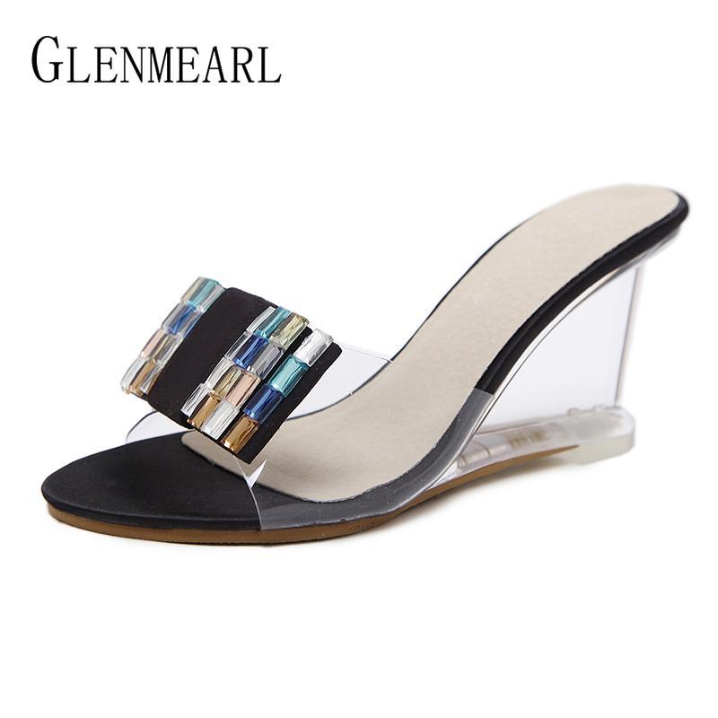 العلامة التجارية النساء النعال عالية الكعب أحذية النساء أسافين الصنادل أحذية الصيف أحذية النعال البغال الإناث منصة حزب عالية DE
