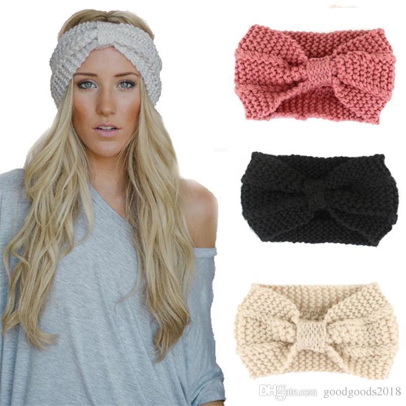 Mode Mädchen Häkeln geknotete Turban Strickstirnband für Frauen Wrap Haarreif Winter-Ohr-Wärmer Turban Haarschmuck ST788