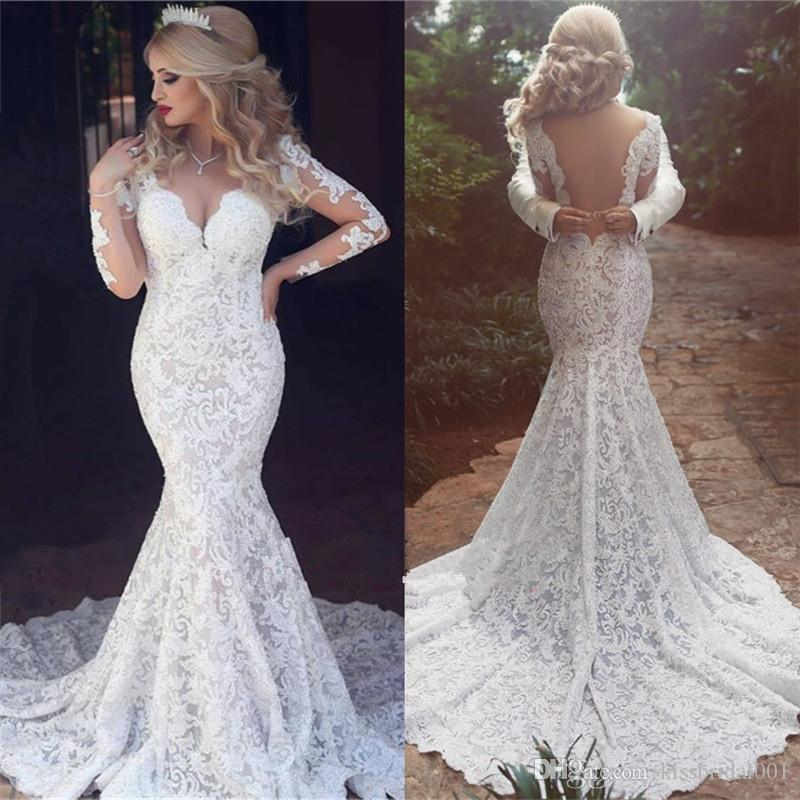 White//Ivory V Neck Mermaid Cap Sleeve Lace Backless Wedding Dress  Bridal Gown